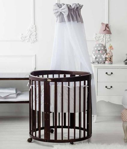Кроватка детская Bambini овальная М 01.10.14 Темный Орех (10)