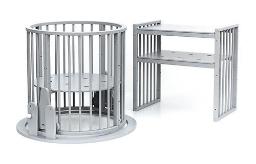 Кроватка детская Bambini овальная М 01.10.14 Серый (12)