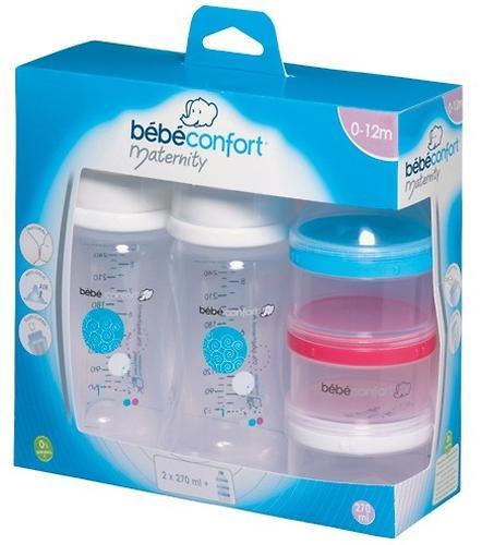 Бутылочки Bebe Confort Evidence пластиковые 270мл 0-12м 2шт с контейнером для хранения молока (3)