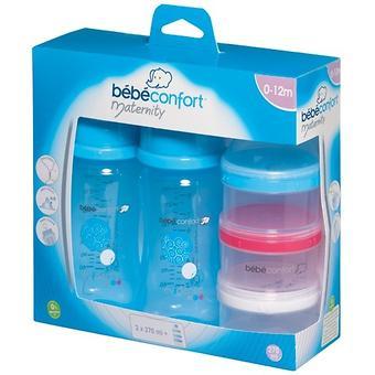 Бутылочка Bebe Confort Evidence пластиковая 270мл 0-12м 2шт с контейнером для хранения молока - Minim