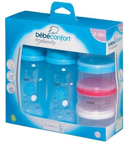 Бутылочка Bebe Confort Evidence пластиковая 270мл 0-12м 2шт с контейнером для хранения молока (3)