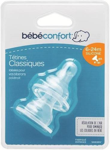 Соска Bebe Confort силиконовая 2 шт 6-24м узкая для супов и густых смесей (4)