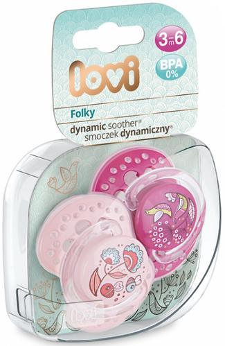 Lovi пустышка силиконовая динамичная 3-6 мес FOLKY 2 шт для девочек 22/842 girl (10)