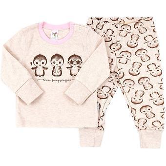 Пижама Croсkid детская К 1516/св.беж.меланж+пингвины на беж.меланже - Minim