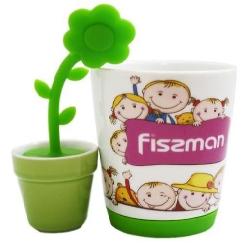 Кружка 250 мл с чайным ситечком в форме цветка (керамика и силикон) Fissman 9270 (1)