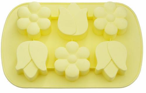Форма Fissman для выпечки 6 кексов нарцисс, тюльпан, цвет Палевый (силикон) 6650 (1)
