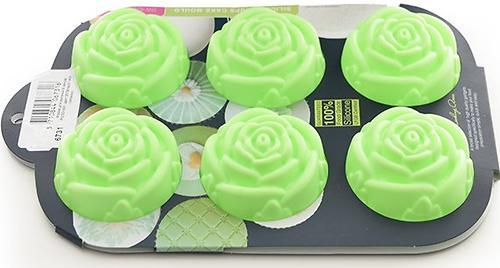Форма Fissman для выпечки 6 кексов Розочки, цвет Зеленый чай (силикон) 6731 (1)