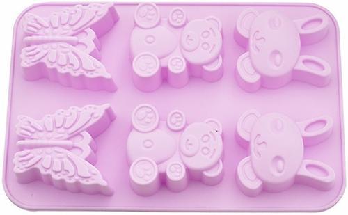 Форма для выпечки 6 кексов Fissman Зайчик, Мишка, Бабочка цвет Чайная Роза (силикон) 6646 (1)