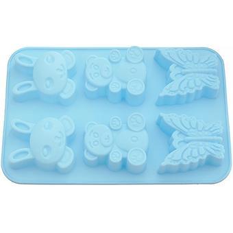 Форма для выпечки 6 кексов Fissman Зайчик, Мишка, Бабочка цвет Лазурный (силикон) 6647 - Minim