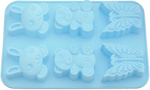 Форма для выпечки 6 кексов Fissman Зайчик, Мишка, Бабочка цвет Лазурный (силикон) 6647 (1)