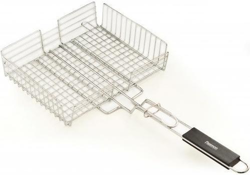 Решетка глубокая для приготовления овощей на гриле Fissman с деревянной ручкой (хромированное покрытие) 1045 (3)