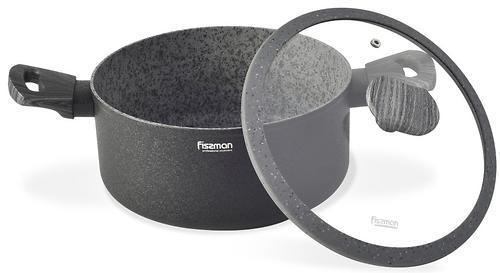 Кастрюля Fissman Charm Stone 24x10,9 см / 4,7 л со стеклянной крышкой с индукционным дном (алюминий с антипригарным покрытием) 5026 (1)