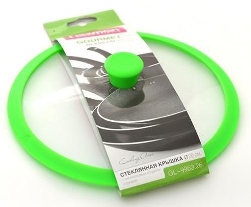 Стеклянная крышка Fissman Gourmet 26 см с зеленым силиконовым ободком 9953 (1)