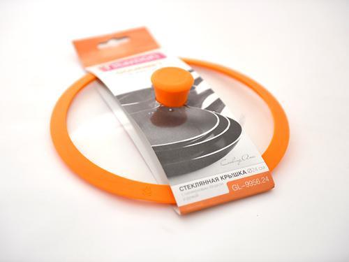Стеклянная крышка FissmanGOURMET 24 см с оранжевым силиконовым ободком 9956 (1)