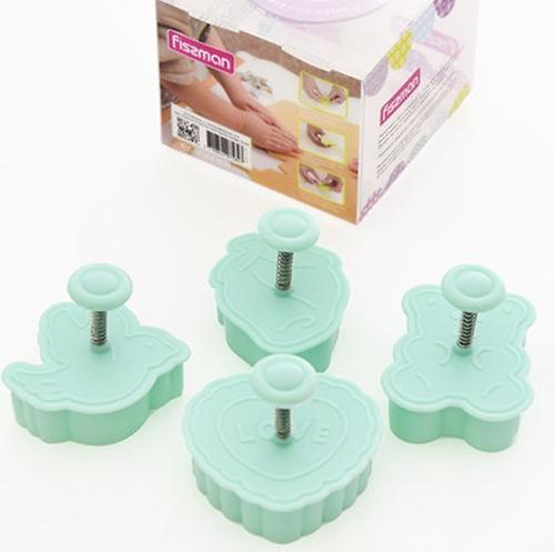 Набор Fissman из 4 мини-формочек для вырезания печенья с поршнем (пластик) 7584 (2)