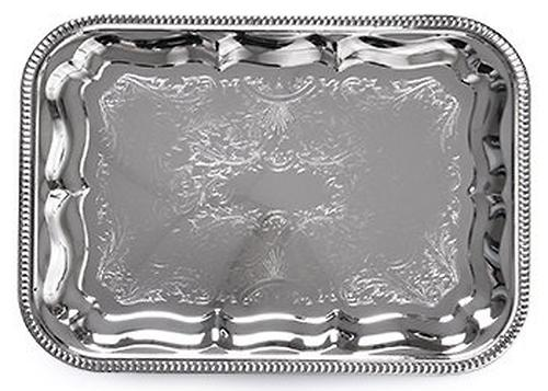 Поднос металлический прямоугольный 34x25 см хромированный Fissman 9419 (1)