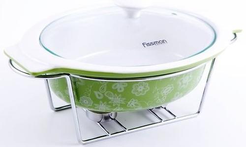 Овальный мармит 1,3 л зеленый с подставкой для греющей свечи (керамика) Fissman 6017 (1)