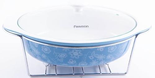 Овальный мармит 2,05 л голубой с подставкой для греющей свечи (керамика) Fissman 6020 (1)