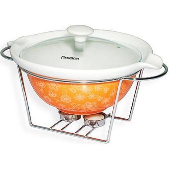 Круглый мармит 1,05 л оранжевый с подставкой для греющей свечи (керамика) Fissman 6021 - Minim