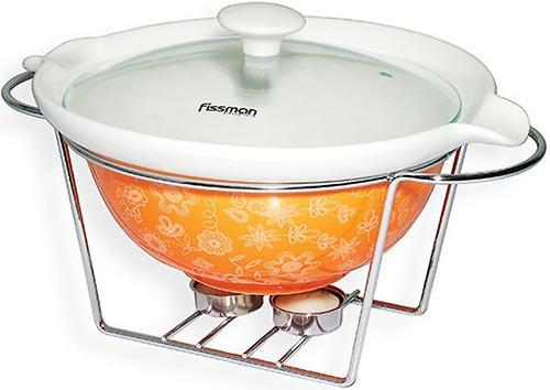 Круглый мармит 1,05 л оранжевый с подставкой для греющей свечи (керамика) Fissman 6021 (1)