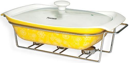 Прямоугольный мармит 1,35 л желтый с подставкой для греющей свечи (керамика) Fissman 6023 (1)