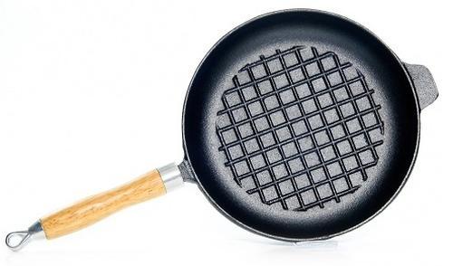 Сковорода для жарки 27x4,8 см с рифленым дном и деревянной ручкой (чугун) Fissman 4096 (1)