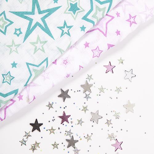 Муслиновая пеленка GlorYes! Розовые звезды 120х120 см (9)