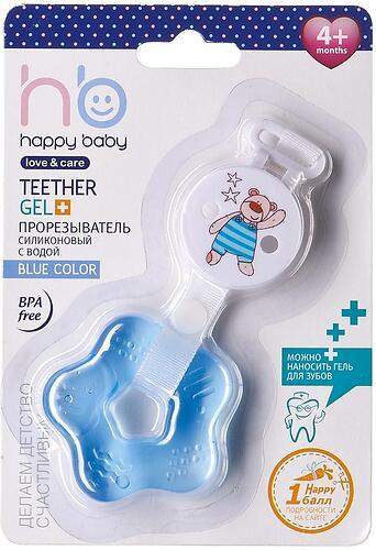 Прорезыватель силиконовый с водой Happy Baby Teether gel+ Blue (4)
