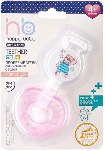 Прорезыватель силиконовый с водой Happy Baby Teether gel+ Pink (4)