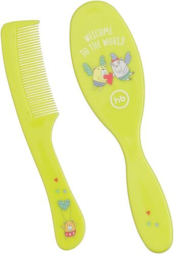 Набор щеток для волос Happy Baby Brush Сomb Set Lime (4)