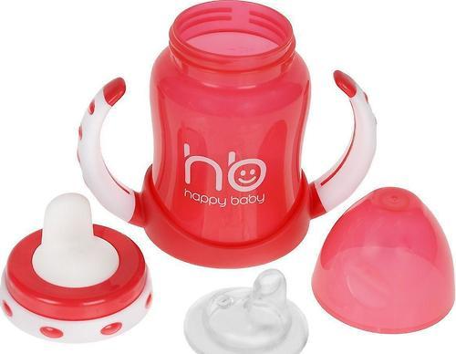 Поильник Happy Baby с двумя тренировочными клапанами Feeding Cup Red (4)