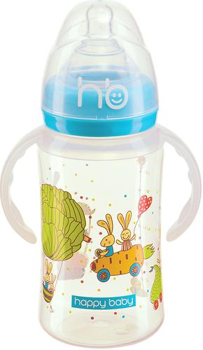 Бутылочка Happy Baby для кормления с ручками Milky Stories 240 мл Blue (3)