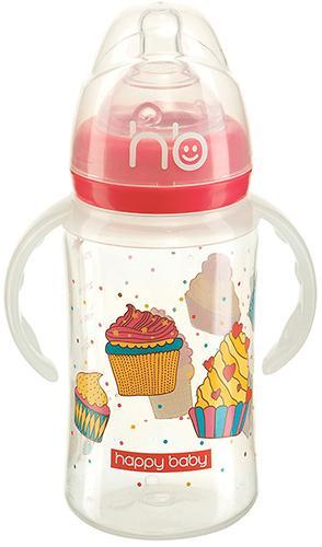 Бутылочка Happy Baby для кормления с ручками Milky Stories 240 мл Red (3)