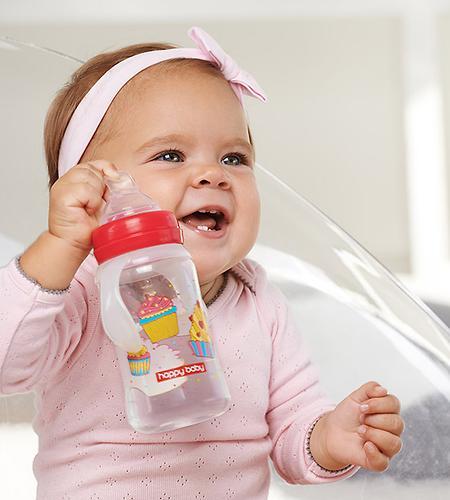 Бутылочка Happy Baby для кормления с ручками Milky Stories 240 мл Red (4)