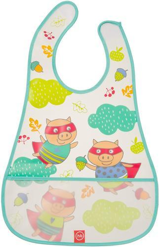 Нагрудник Happy Baby на липучке Waterproof Baby Bib Mint Pigs (3)