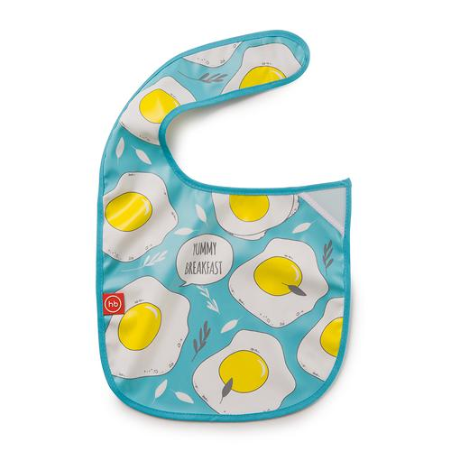 Нагрудник Happy Baby на липучке Waterproof baby bib Голубой (6)