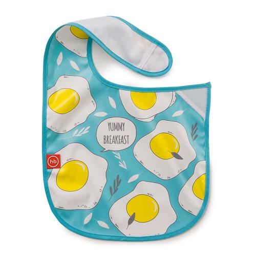 Нагрудник Happy Baby на липучке Waterproof baby bib Голубой (5)