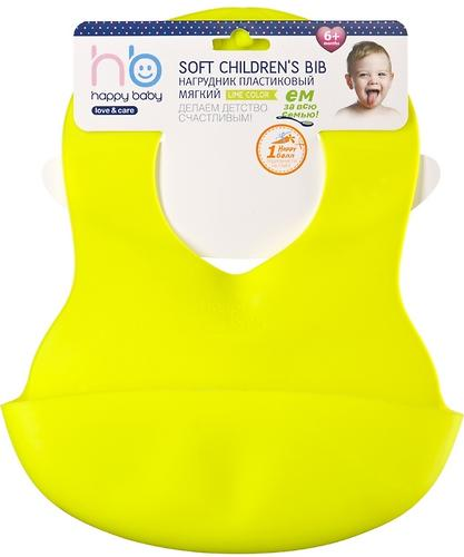 Нагрудник пластиковый мягкий Happy Baby Soft children's bib Lime (4)