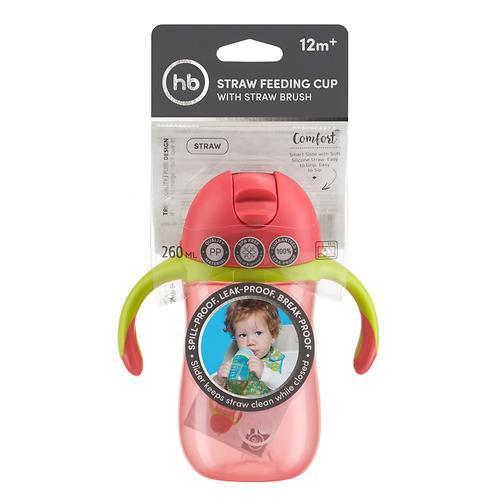 Поильник с трубочкой и ручками Happy Baby Straw Feeding Cup Red (9)