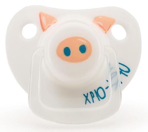Силиконовая соска-пустышка Happy Baby ортодонтическая 0-12 Хрю-Хрю (6)