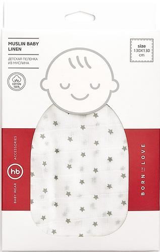 Пеленка Happy Baby муслиновая Gray Big Stars (6)