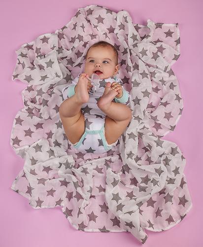 Пеленка Happy Baby муслиновая Gray Little Stars (10)