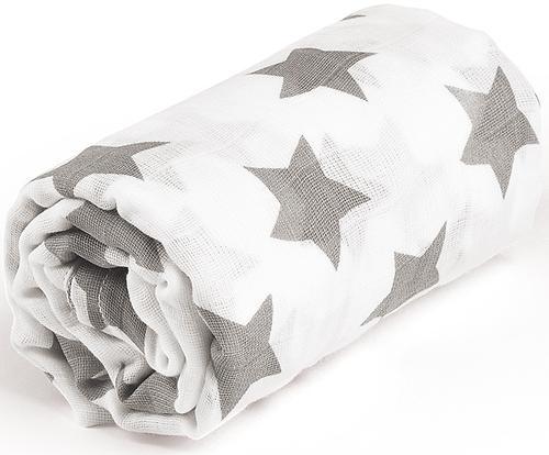 Пеленка Happy Baby муслиновая Gray Big Stars (5)