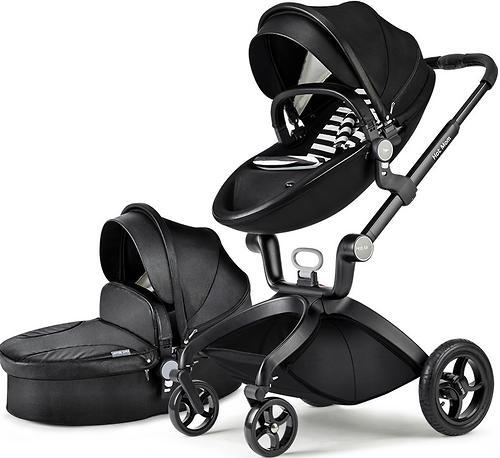 Коляска 2 в1 Hot Mom экокожа Black Leather (7)