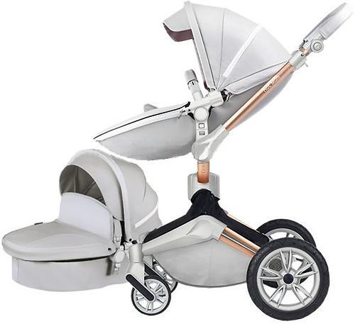 Коляска 2 в1 Hot Mom экокожа Grey Leather 360 (5)