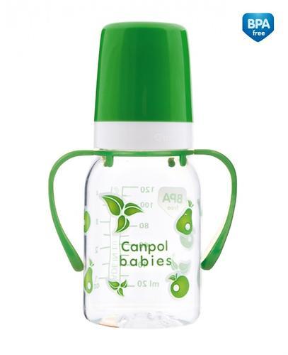 Тритановая бутылочка Canpol 120 мл с ручками 3мес+ в ассортименте (6)