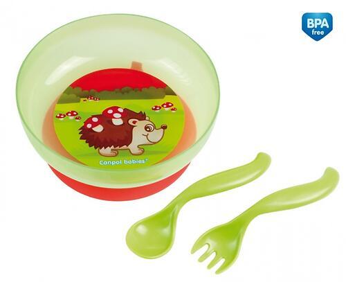 Тарелка на присоске Canpol с крышкой, ложкой и вилкой 9 мес+ в ассортименте (3)