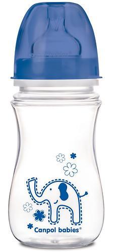 Бутылочка Canpol антиколиковая с широким горлышком EasyStart Цветные зверушки 240 мл 3м+ в ассортименте (5)
