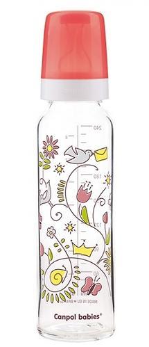 Бутылочка Canpol для кормления стеклянная с рисунком 240 мл 12м+ в ассортименте (4)