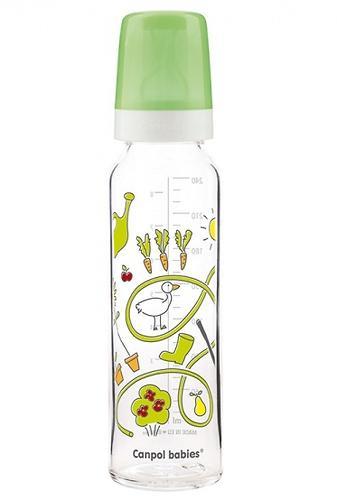 Бутылочка Canpol для кормления стеклянная с рисунком 240 мл 12м+ в ассортименте (6)